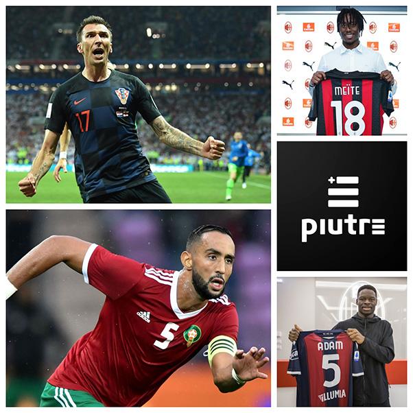 Meite mostra la maglia del Milan. Collage calciatori serie A