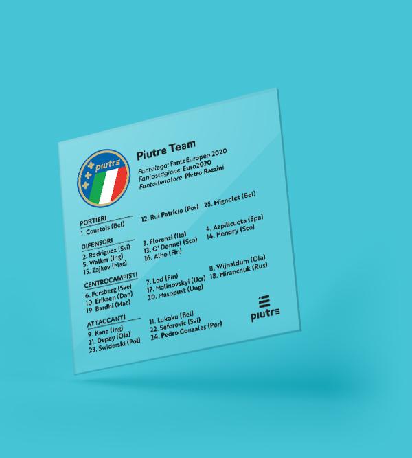 Coppa personalizzata Piutre fantacalcio fantarosa Euro2020