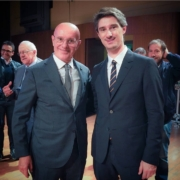 il giornalista Pietro Razzini con l'allenatore di Milan e Nazionale Arrigo Sacchi