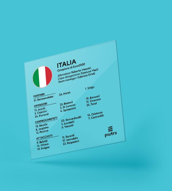 Targa con la rosa dell'Italia alla finale degli Europei 2020-21
