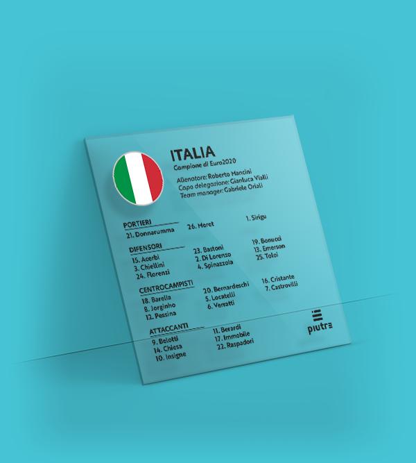 Targa Piutre con la rosa dell'Italia alla finale degli Europei 2020-21